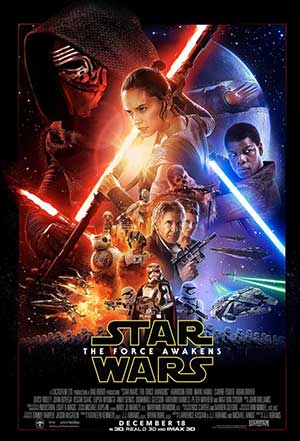 EE.UU. 2015. Dirección: J.J. Abrams. Guión: J.J. Abrams, Lawrence Kasdan (Personajes: George Lucas). Música: John Williams. Fotografía: Daniel Mindel. Reparto: John Boyega, Daisy Ridley, Harrison Ford, Carrie Fisher, Mark Hamill, Oscar Isaac, Adam Driver, Gwendoline Christie, Lupita Nyong'o, Andy Serkis, Domhnall Gleeson, Max von Sydow, Anthony Daniels, Peter Mayhew, Maisie Richardson-Sellers, Kenny Baker, Katie Jarvis, Christina Chong, Simon Pegg, Miltos Yerolemou, Warwick Davis